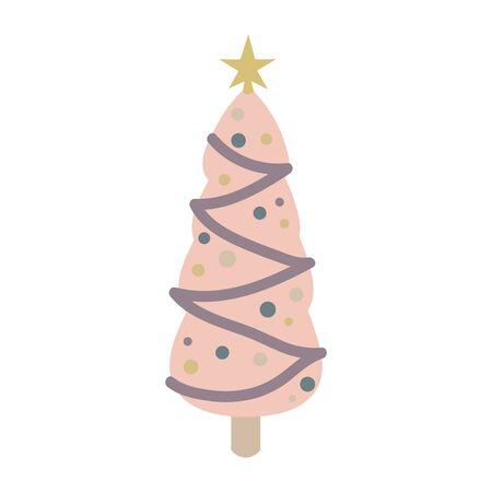 Christmas tree with decoration isolated on white background. Vector illustration. Illustration