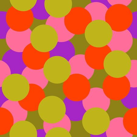 Colorful dotted seamless pattern with round geometrical shapes. Messy infinity texture, bright modern background. Vector illustration. Illustration