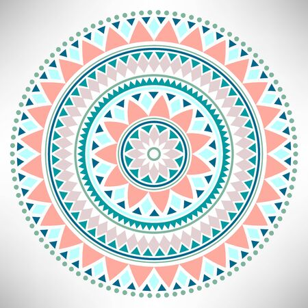 Ornamental round pattern. Tribal mandala. Geometrical circle isolated on white background. Vector illustration.