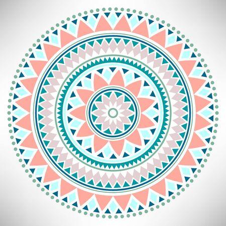 Ornamental round pattern. Tribal mandala. Geometrical circle isolated on white background. Vector illustration.