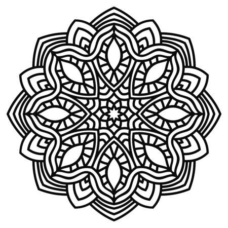 Black outline flower mandala. Vintage decorative element. Ornamental round doodle flower isolated on white background. Geometric circle element. Vector illustration.