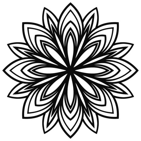 Flower blossom close-up view from above for coloring book. Flowering doodle floral element. Mandala black contour isolated on white background. Geometric circular pattern. Vector illustration.