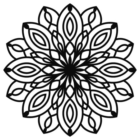 Black outline flower mandala. Vintage decorative element. Ornamental round doodle flower isolated on white background. Geometric circle element. Vector illustration.