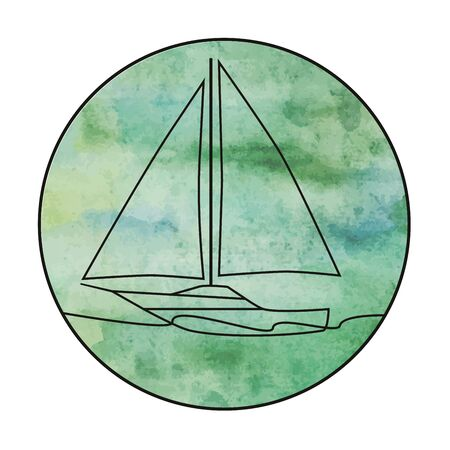 Vector sailing yacht at sea on a vector watercolor background. Logo, icon, label, ets.