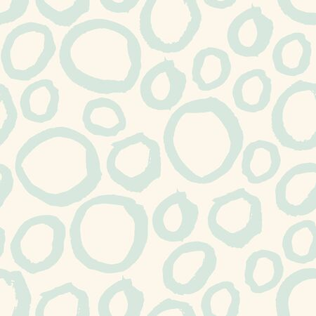 Abstract pastel seamless pattern with hand drawn grunge randomly circles, rings. Background with different round shapes. Messy bubbles. Vector illustration.