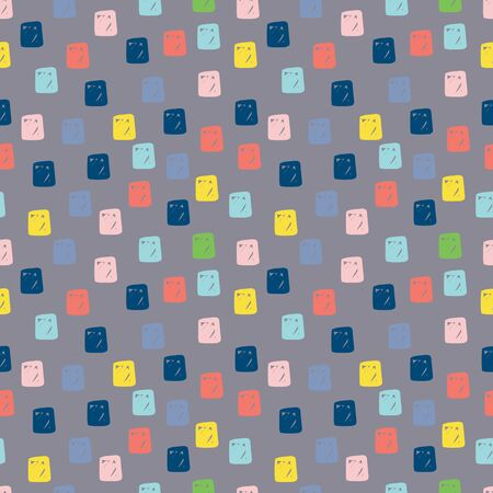 Modern hand draw colorful abstract seamless pattern with geometrical shapes. Square hand drawn background. Vector illustration.