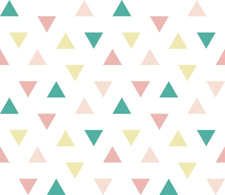 Seamless abstract geometric ornament of colorful triangles on white background. Seamless abstract triangular geometrical pattern. Infinity geometric pattern. Vector illustration.