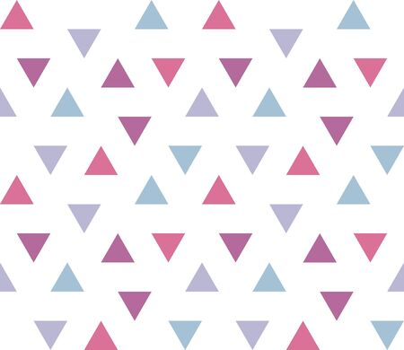Seamless geometric pattern with colorful triangles on white background. Seamless abstract triangle geometrical background. Infinity geometric pattern. Vector illustration.