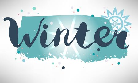 Colorful winter postcard with hand drawn word, lettering on blue grunge horizontal brush stroke, little dots, sun effect, star isolated on white background. Vector illustration. Ilustrace