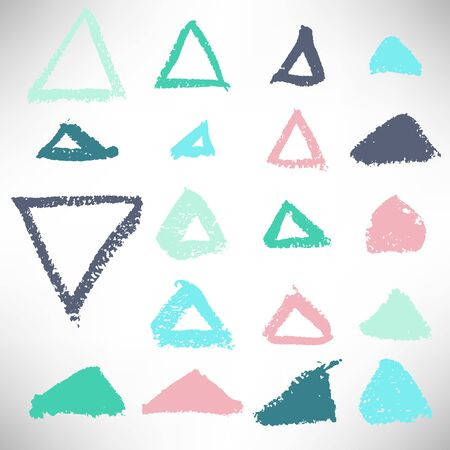 Colorful set of hand drawn grunge triangles, frames, elements for design. Geometrical shapes collection isolated on white background. Vector illustration. Ilustrace