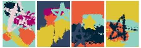 Abstract backgrounds with halftone stars, elements, template, artistic covers design, colorful texture. Trendy pattern, graphic poster, geometric brochure, card. Vector illustration.