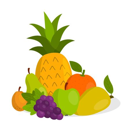 Cute cartoon fruits set in flat style isolated on white background. Icons.