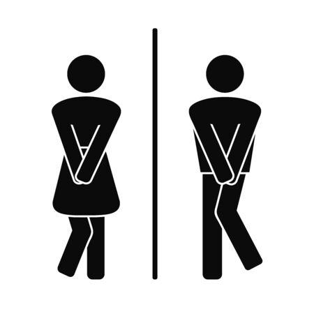 Symboles plats drôles de porte de wc. Toilettes pour filles et garçons, signature d'un couple de toilettes, icônes de toilettes désespérées pour homme femme pipi, panneaux de porte de salle de bain amusants, silhouettes de toilettes publiques humoristiques. Illustration vectorielle.