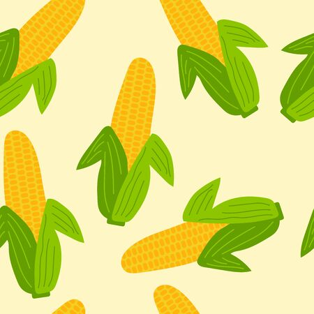 Vegetables seamless pattern. Corn with leaves background. Vector illustration.