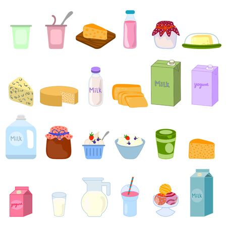 Dairy products, milk, cheese, yogurt, cottage cheese, butter and ice cream. Healthy food. Vector illustration