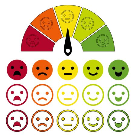 감정 척도. 감정 다이얼 측정, 감정 측정기, 흰색 배경에 격리된 우수성부터 낮은 등급까지 고객 만족도에 대한 감정을 표시합니다. 벡터 일러스트 레이 션.