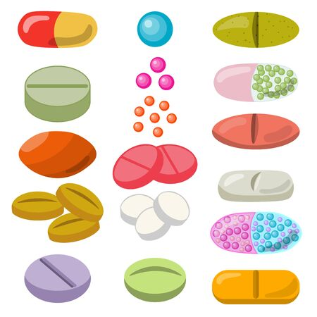 Set of colorful pills and tablet, healthcare medication isolated on white background. Vector illustration. Ilustração