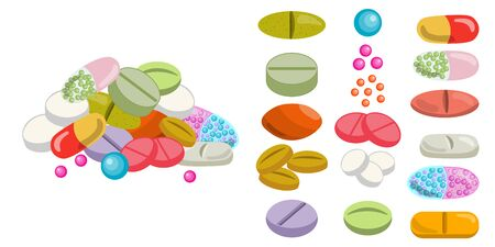 Set of colorful pills and tablet, healthcare medication isolated on white background. Handful of pills. Vector illustration. Ilustração