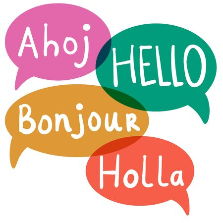 Hello, Hi with speech bubbles on different languages. Translation concept. Hand drawn icons isolated on white background.  Vector illustration.