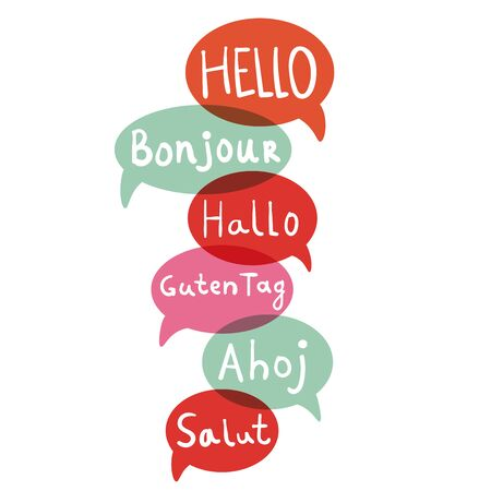 Words hello with speech bubbles on different languages. Hand drawn text isolated on white background.  Vector illustration. Archivio Fotografico - 133712058