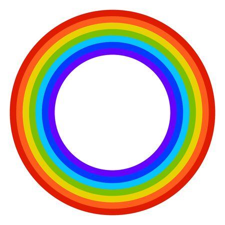 Arco iris redondo de dibujos animados en estilo plano aislado sobre fondo blanco. Ilustración de vector.