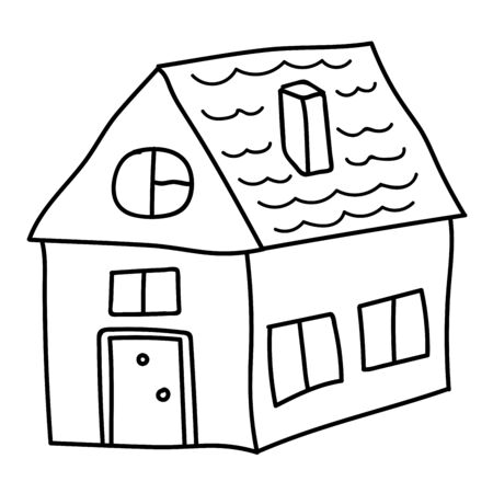Cartoon doodle linear house, building isolated on white background. Vector illustration. Ilustrace
