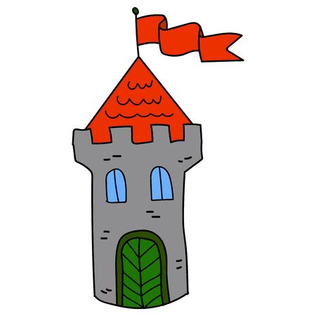 Cartoon linear doodle retro castle   with flag isolated on white background. Vector illustration. Çizim