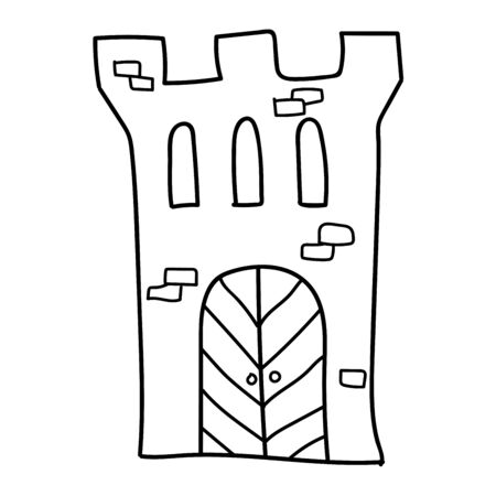 Cartoon linear doodle retro ancient castle isolated on white background. Vector illustration.