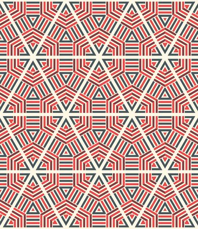 Striped hexagon, triangle, rhombus, star seamless pattern. Linear geometric background. Vector illustration.