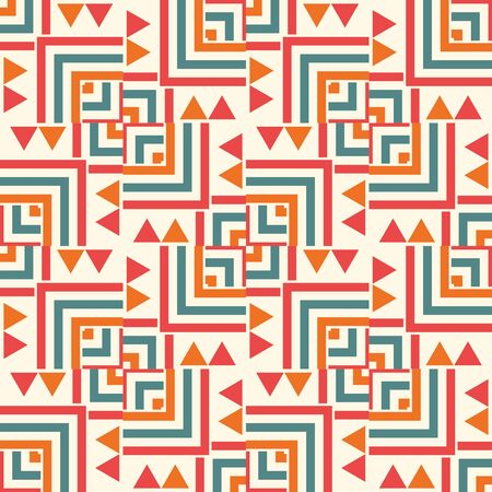 Geometric seamless pattern with triangles, squares. Striped ethnic card. Tribal background. Vector illustration.
