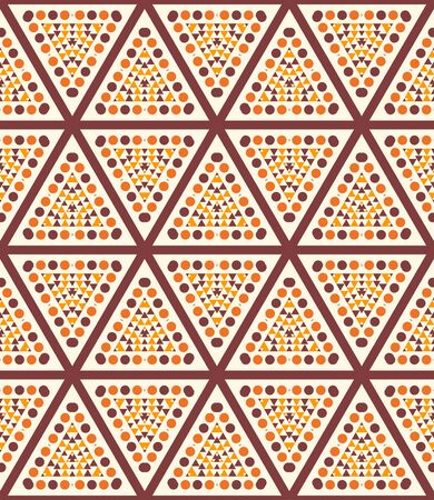 Striped triangle, rhombus, hexagon , dot seamless pattern. Linear geometric background. Vector illustration. Ilustração Vetorial