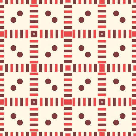 Abstract striped geometric seamless pattern with different shapes. Dot, square, line mosaic, tile background, wrapping paper. Vector illustration. Vecteurs