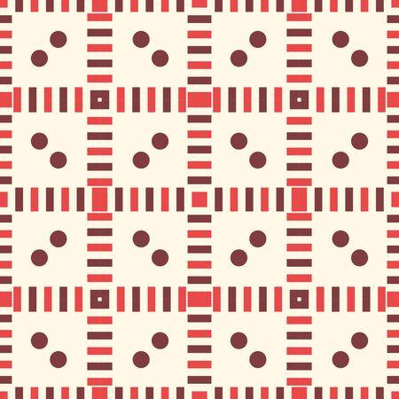 Modello senza cuciture geometrico a strisce astratto con forme diverse. Punto, quadrato, mosaico di linee, sfondo di piastrelle, carta da imballaggio. Illustrazione vettoriale. Vettoriali