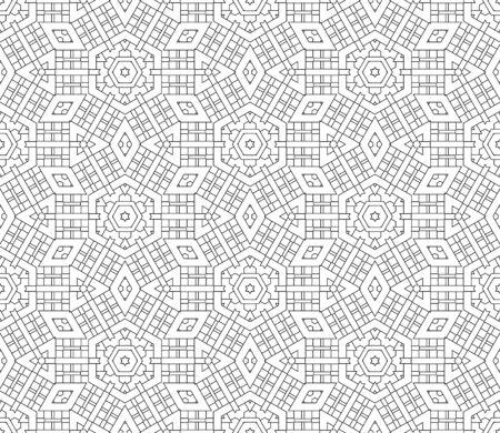 Dünne Linie gestreiftes Sechseck, Dreieck, Raute nahtloses Muster. Linearer geometrischer Hintergrund. Geschenkpapier. Vektor-Illustration.