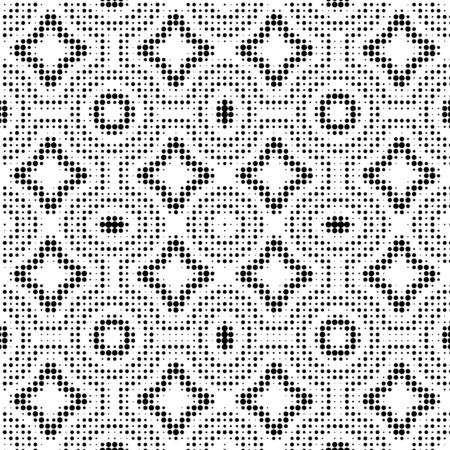 Abstract halftone ornamental geometric background. Pop art style card. Grunge texture. Vector illustration.