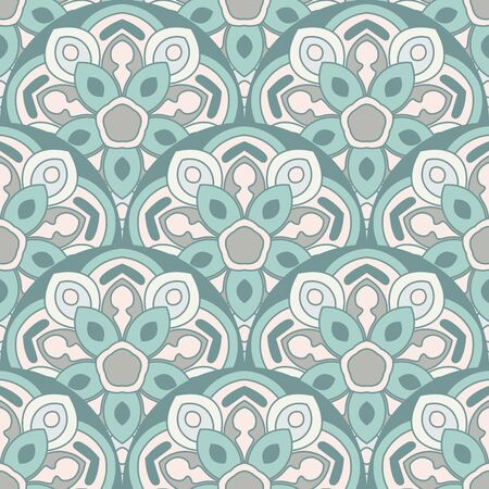 Abstract mandala fish scale seamless pattern. Ornamental tile, mosaic background. Floral patchwork infinity card. Arabic, Indian, ottoman motifs. Vector illustration.