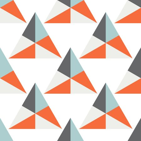 Abstract triangle geometric seamless pattern.  Ornamental geometrical background. Mosaic, tail. Wrapping paper. Vector illustration.