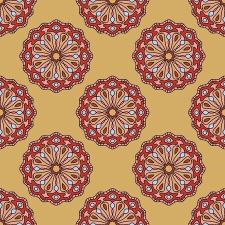 Abstract seamless pattern with mandala flower. Mosaic, tile. Floral background. Vector illustration. Stock Illustratie