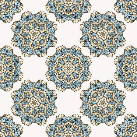 Abstract seamless pattern with mandala flower. Mosaic, tile. Floral background. Vector illustration. 版權商用圖片 - 134615755