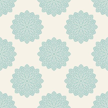 Abstract seamless pattern with mandala flower. Mosaic, tile. Floral background. Vector illustration. 版權商用圖片 - 134559033