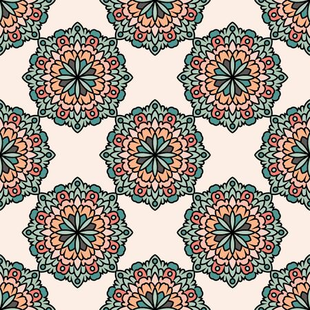 Abstract seamless pattern with mandala flower. Mosaic, tile. Floral background. Vector illustration. 版權商用圖片 - 134559035