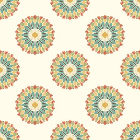 Abstract seamless pattern with mandala flower. Mosaic, tile. Floral background. Vector illustration. 版權商用圖片 - 134559036