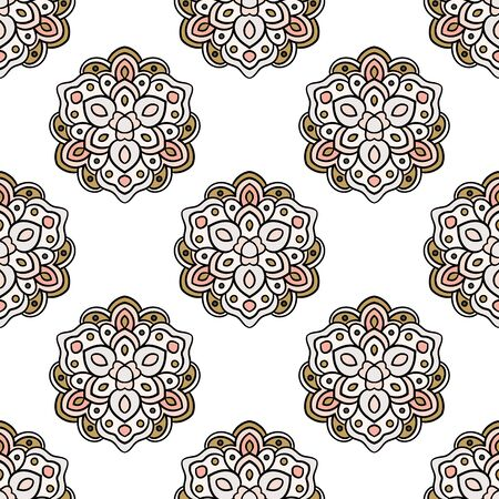 Abstract seamless pattern with mandala flower. Mosaic, tile. Floral background. Vector illustration. 版權商用圖片 - 134559039