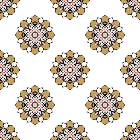 Abstract seamless pattern with mandala flower. Mosaic, tile. Floral background. Vector illustration. 版權商用圖片 - 134559041