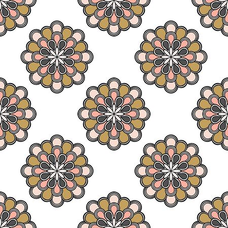 Abstract seamless pattern with mandala flower. Mosaic, tile. Floral background. Vector illustration. 版權商用圖片 - 134559043