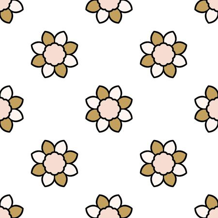 Abstract seamless pattern with mandala flower. Mosaic, tile. Floral background. Vector illustration.