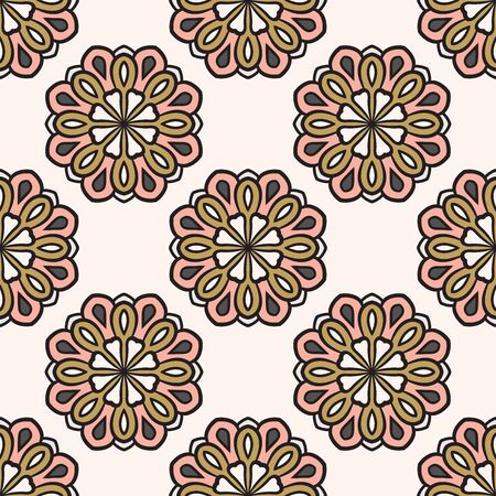 Abstract seamless pattern with mandala flower. Mosaic, tile. Floral background. Vector illustration. 版權商用圖片 - 134559117