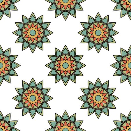 Abstract seamless pattern with mandala flower. Mosaic, tile. Floral background. Vector illustration. 版權商用圖片 - 134559119