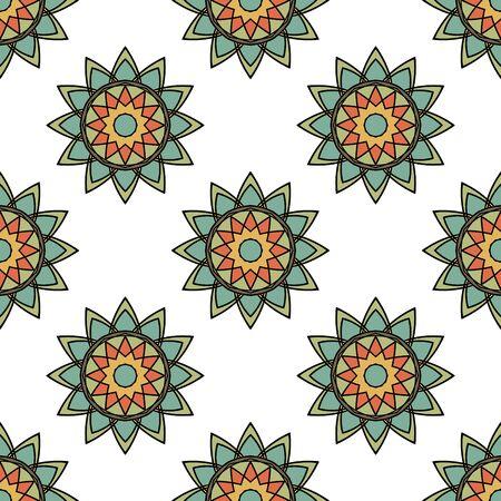 Abstracte naadloze patroon met mandala bloem. Mozaïek, tegel. Bloemen achtergrond. Vector illustratie.