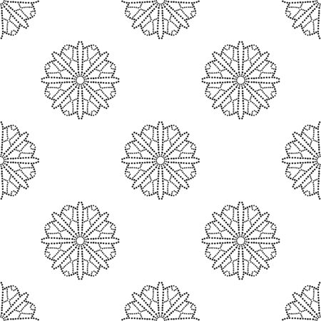 Abstract dotted seamless pattern with mandala flower. Mosaic, tile. Floral background. Vector illustration. 版權商用圖片 - 134559121